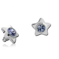 Титановая накрутка на микродермал Звезда с голубым кристаллом Swarovski