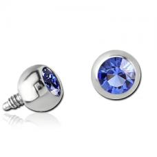 Титановая накрутка на микродермал Шарик с синим кристаллом Swarovski