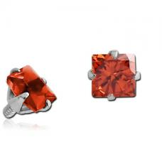 Сережка накрутка на микродермал c красным квадратным кристаллом