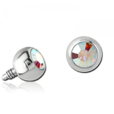 Титановая накрутка на микродермал Шарик с радужным кристаллом Swarovski