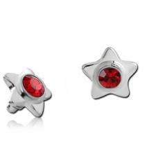 Титановая накрутка на микродермал Звезда с красным кристаллом Swarovski