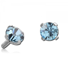 Сережка накрутка на микродермал c голубым круглым кристаллом 3мм