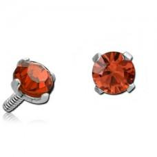 Сережка накрутка на микродермал c оранжевым круглым кристаллом 3мм