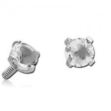 Сережка стальная накрутка на микродермал c прозрачным круглым кристаллом