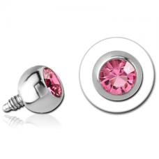 Стальная накрутка на микродермал Шарик с розовым кристаллом Swarovski