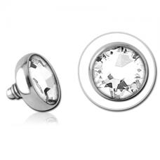 Накрутка на микродермал стальная с белым кристаллом Swarovski