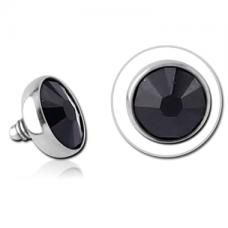 Накрутка на микродермал стальная с черным кристаллом Swarovski