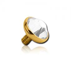 Золотистая титановая накрутка на микродермал с кристаллом Swarovski