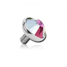 Накрутка на микродермал титановая с радужным кристаллом Swarovski 5мм