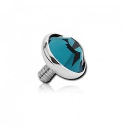 Накрутка на микродермал титановая с бирюзовым кристаллом Swarovski