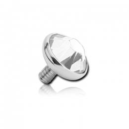 Накрутка на микродермал титановая с белым кристаллом Swarovski 4мм