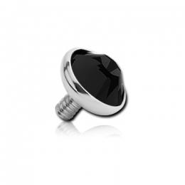 Накрутка на микродермал титановая с черным кристаллом Swarovski