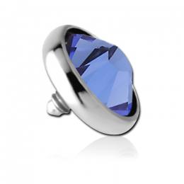 Накрутка на микродермал стальная с синим кристаллом Swarovski