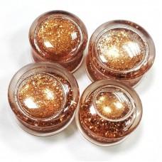 Плаги прозрачные с жидкостью и золотыми блестками