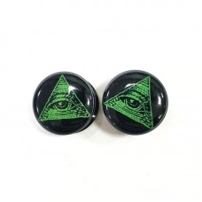 Плаги акриловые с картинкой Зеленый Масонский глаз