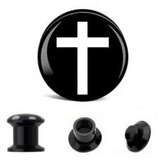 Плаги акриловые с белым крестом на черном фоне