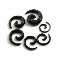 Акриловая черная спираль растяжка уха