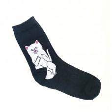Носки с котом черные