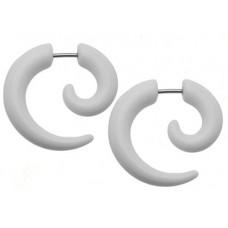 Серьга фейковая спираль обманка белая