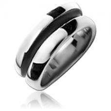 Стальное кольцо с черной полосой