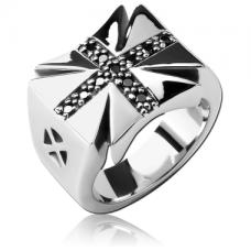 Кольцо Железный крест с камнями
