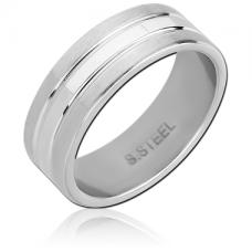 Кольцо стальное с двумя матовыми полосами