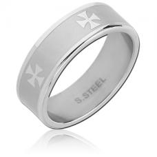 Стальное кольцо матовое с крестами