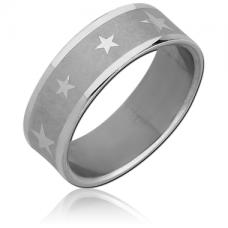Стальное кольцо матовое со звездами