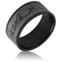 Кольцо стальное черное с орнаментом