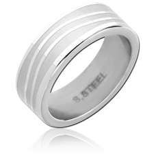 Стальное кольцо с матовыми волнистыми линиями