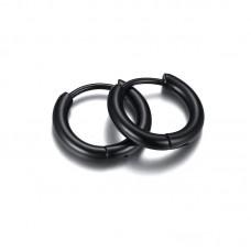 Сережка в ухо стальное толстое кольцо на защелке черное