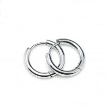 Сережка в ухо стальное толстое кольцо на защелке серебристое