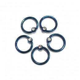 Кольцо синее 1,2мм с камнем
