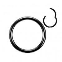 Металлическое черное кольцо сегментное с застежкой 1,2мм