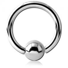 Кольцо серебристое 1,2мм с шариком 6мм