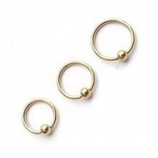 Кольцо золотистое с шариком 1,2мм