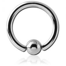 Кольцо серебристое 1,2мм с шариком 4мм