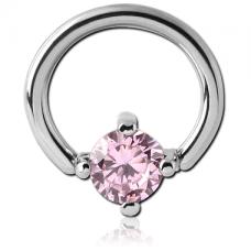 Сережка пирсинг кольцо с розовым кристаллом 6мм