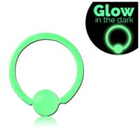 Сережка кольцо 1,6мм из Биофлекса полупрозрачное светится в темноте