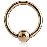 Сережка кольцо из хирургической стали с золотистым циркониевым PVD покрытием