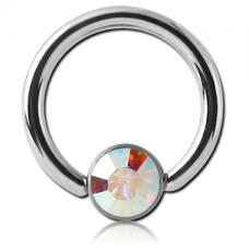 Сережка кольцо 1,2мм с радужным кристаллом AB Swarovski 4мм