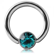 Сережка кольцо 1,2мм с бирюзовым кристаллом Swarovski 4мм