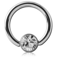 Сережка кольцо 1,2мм из стали с белым кристаллом Swarovski 4мм