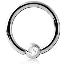 Кольцо серебристое с камнем в шарике