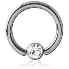 Сережка кольцо 1мм с белым кристаллом Swarovski 3мм