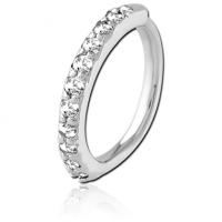 Сережка кольцо разгибное с кристаллами для пирсинга
