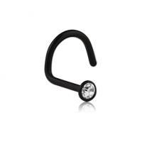 Черный нострил пирсинг сережка в нос с  с белым кристаллом Swarovski 2,35мм