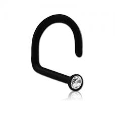 Черная сережка нострил  из Биофлекса с белым кристаллом Swarovski®