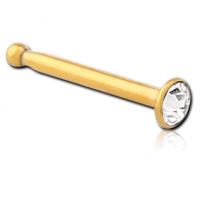 Золотистая пирсинг сережка гвоздик в нос с белым кристаллом Swarovski 2мм