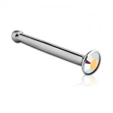 Стальная пирсинг сережка в нос гвоздик с радужным кристаллом Swarovski 2мм